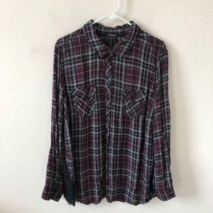 Torrid Plaid Lace Inset Camp Shirt- Size 3